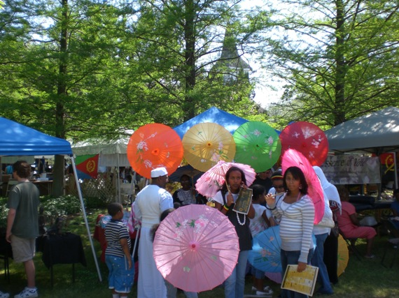 ethiopian girls with umbrellas - ifest 2008 houston texas