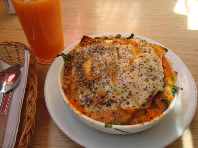 veggie lasagna & papaya juice, loto azulbogota