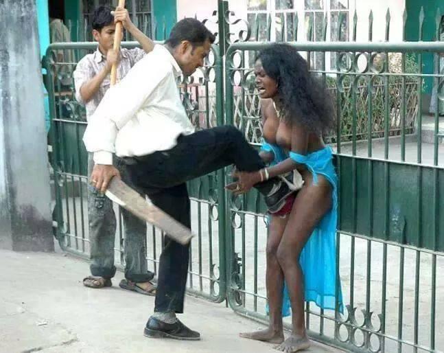 arab man attacking african woman