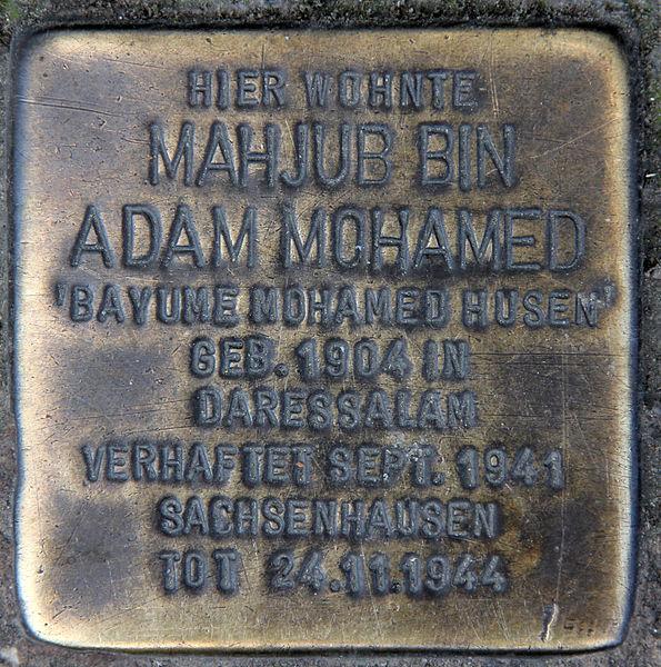 Bayume Mohamed Husen memorial plaque