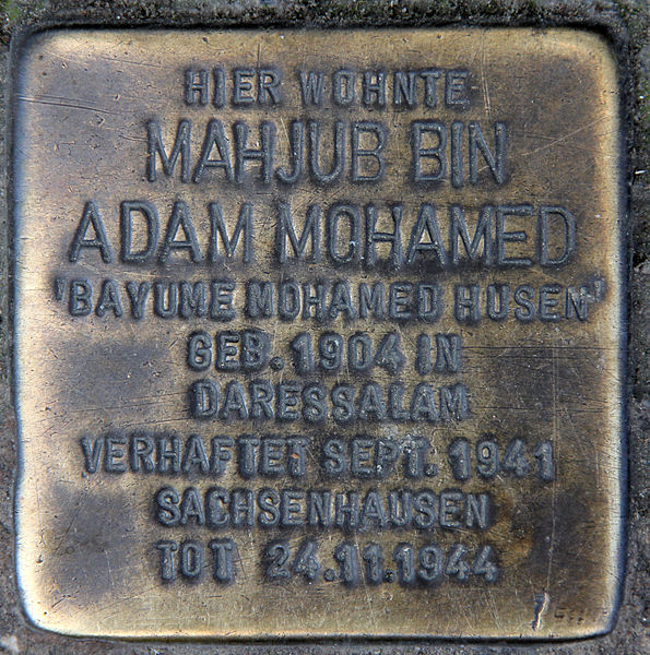 Bayume Mohamed Husen memorial plaque