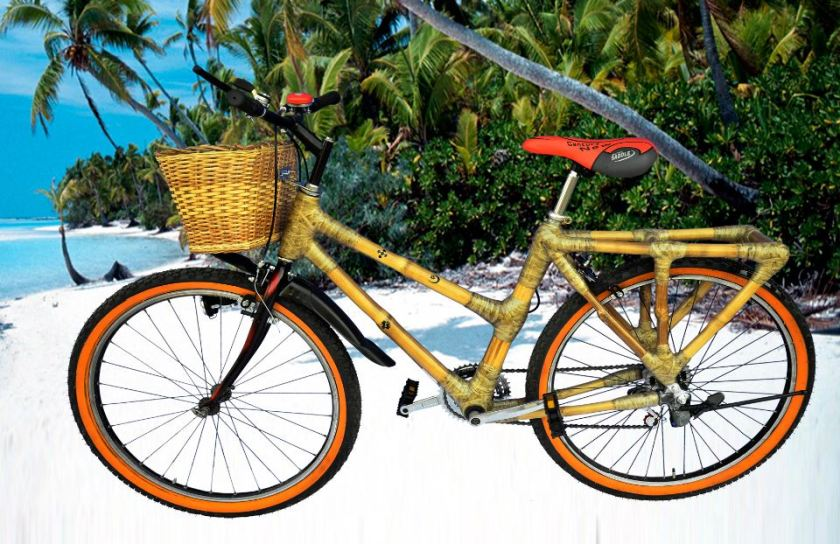 female mountain with rack and basket ghana bamboo bicycle