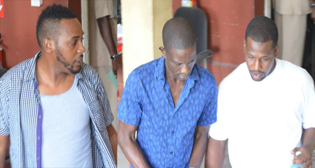 From L-R) 39-year-old graphic artist Eon Campbell; Taxi driver, Sean Anthony Aaron and Kennard Jabar were not required to plead to the indictable charges (Delano Williams photos)