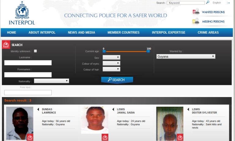interpol wanted notice for persons wanted in guyana