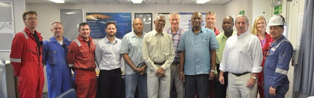 President David A. Granger, Alliance for Change Executive Member Rafael Trotman and Minister of State within the Ministry of the Presidency, Joseph Harmon with the crew of the ExxonMobil drill ship