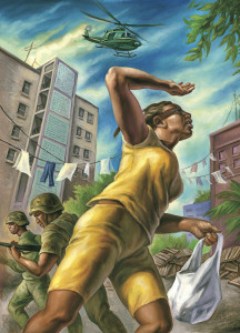 """""""Marjorie Hinds was out buying food in Tivoli Gardens on the morning of May 24, 2010, when the security forces moved in."""" Illustration by Owen Smith, The New Yorker. This accompanied an article by December 11, 2011 article by Mattathias Schwartz, headlined """"A Massacre in Jamaica."""""""