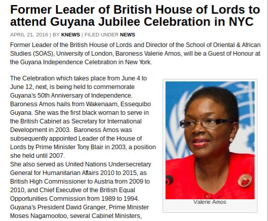 baroness amos guyana jubilee guest