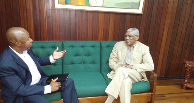 Ifa Kamau Cush interviewing President David Granger