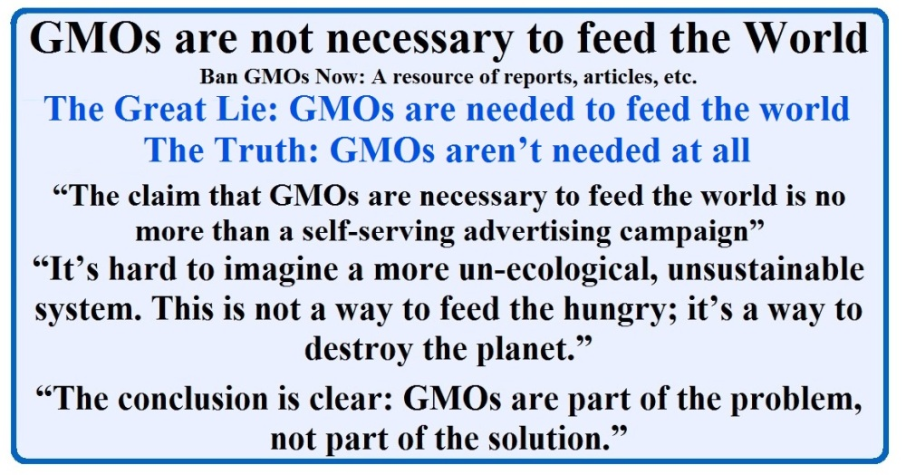 GMOs are not necessary to feed the World - Ban GMOs Now